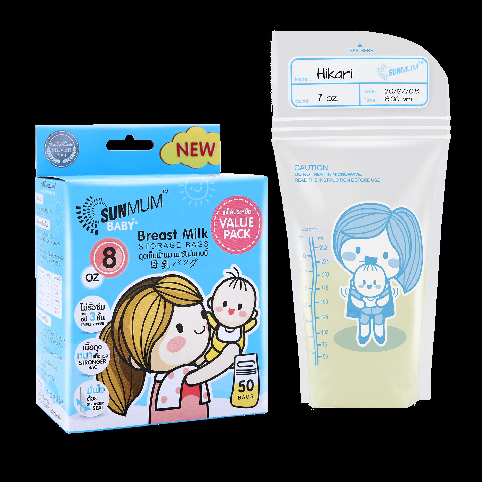SUNMUM Breast Milk Storage Bags 8 OZ Value Pack