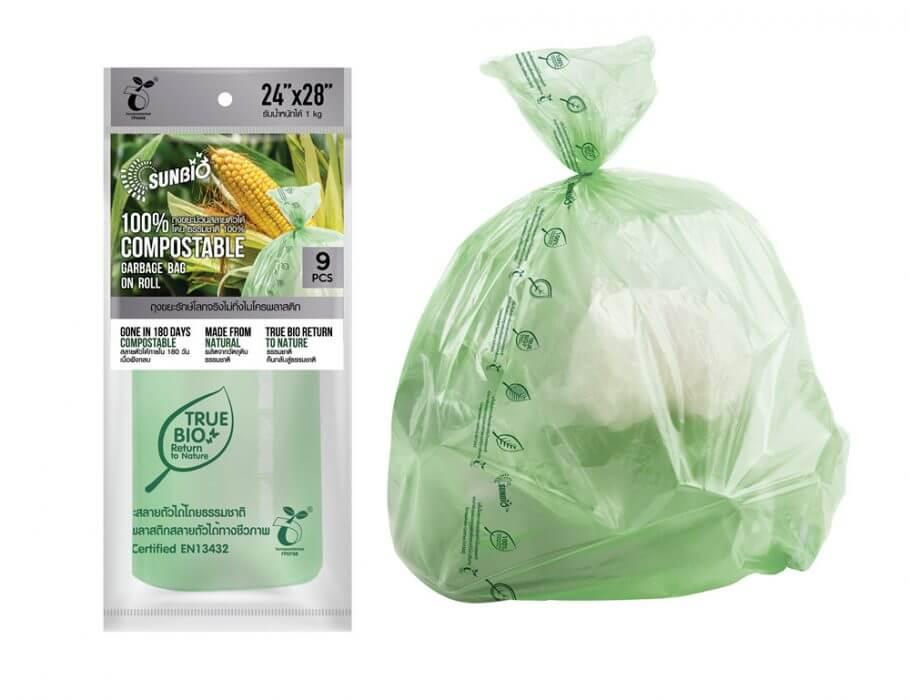 SUNBIO ถุงขยะม้วน 24x28 นิ้ว 9 ใบ