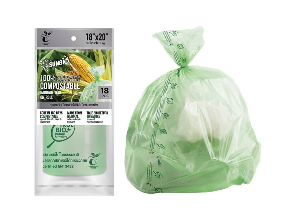 SUNBIO ถุงขยะม้วน 18x20 นิ้ว 18 ใบ