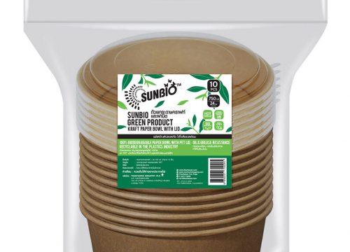 SUNBIO ถ้วยกระดาษคราฟท์+ฝา 750 มล. (12.8 x 15 x 6 ซม.) 10 ชิ้น
