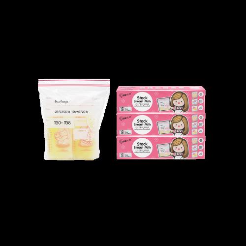 SUNMUM ถุงจัดเรียงสต๊อกน้ำนมแม่ สีชมพู 3 กล่อง (36 ใบ)